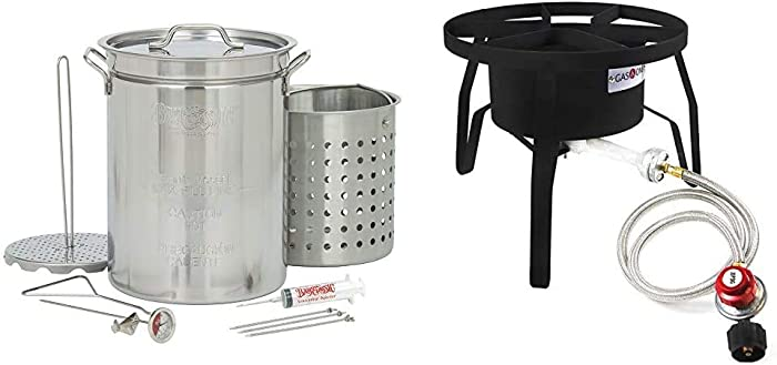 Bayou Classic 1118 32-Quart Stainless Steel Turkey Fryer & GasOne B-5300 One High-Pressure Outdoor Propane Burner Gas Cooker Weld, Black