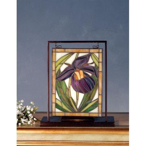 (Meyda Tiffany 68351 Lady Slippers Lighted Decorative Mini Tabletop Window, 9.5