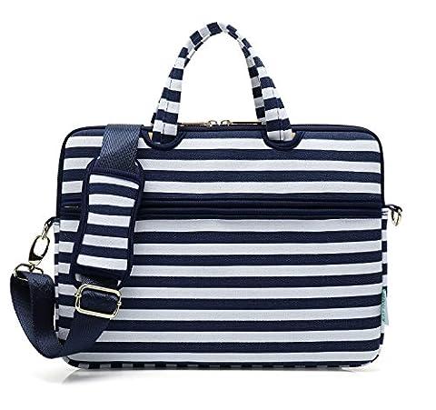 Kayond Canvas Fabric Ultraportable Neoprene Laptop Carrying Case / Shoulder Messenger Bag / Briefcase for Macbook, Acer, Dell, Hp, Sony,ausa,samsung,lenovo, Notebook(14-14.1, Breton - Breton Stripe