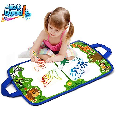 H2o Doodle Aqua Magic Mat - Road Trip Activities for Kids - Toddler Doodle Board - Water Drawing Mat - Aquadoodle Mat for Color Wonder - Toddler Coloring Educational Drawing -