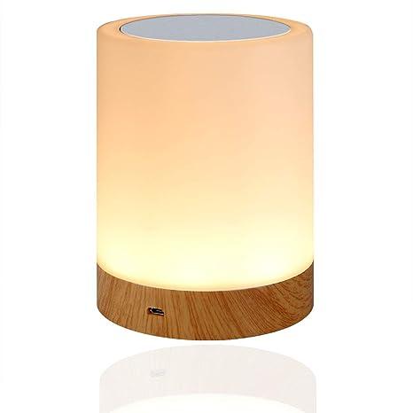 LED Nachttischlampe, Amouhom Dimmbar Atmosphäre Tischlampe für Schlafzimmer Wohnzimmer, 16 Farben Tragbare Nachtlicht mit 280
