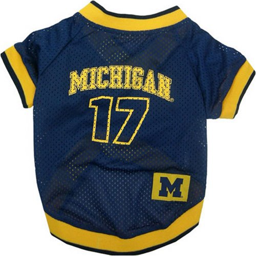 NCAA Dog Jersey, X-Small, University of Michigan Wolverines