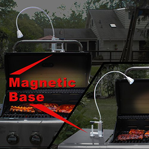Flexit Bright bbq grill light and task light - flexible gooseneck - 12 LED - magnetic base for barbecue - strong screw clamp for table or work bench - battery operated - aluminum - heat resistant