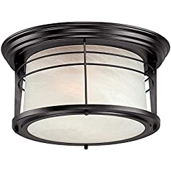 Westinghouse 6674600 Senecaville Two-Light Exterior Flush-Mount Fixture, Weathered Bronze Finish on Steel with White Alabaster Glass