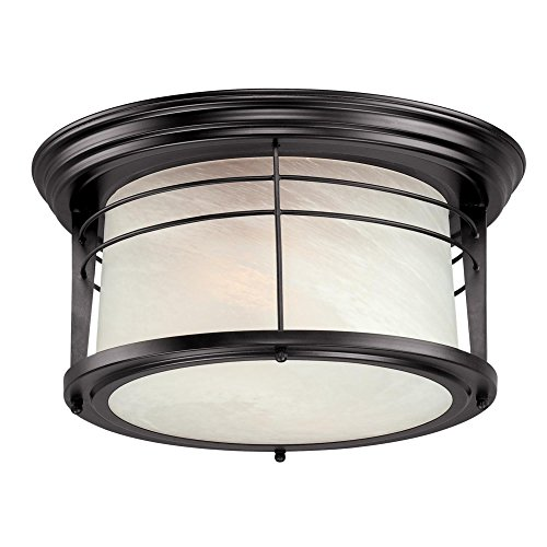 - Westinghouse Lighting 05937003861 Westinghouse 6674600 Senecaville Two-Light Exterior Flush-Mount Fixture, Weathered Bronze Finish on Steel with White Alabaster Glass, 1,