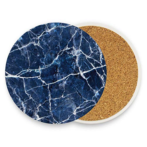 Blue Marble Dark Coasters, Protection For Granite, Glass, Soapstone, Sandstone, Marble, Stone Table - Perfect Cork Coasters,Round Cup Mat Pad For Home, Kitchen Or Bar Set Of -