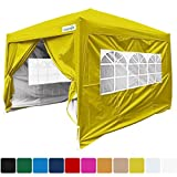 Quictent Silvox 10x10 EZ Pop Up Canopy Tent Instant Canopy Party Tent 8.7 ft height 4 Walls W/Free Carry Bag 100% Waterproof-7 Colors (Yellow)