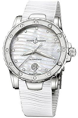Ulysse Nardin Marine Lady Diver White Rubber Strap Diamond Automatic Swiss Watch 8153-180E-3/10