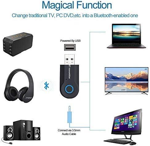 Andven USB Transmisor Bluetooth, Portátil Inalámbrico Música ...