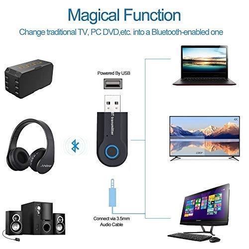 Andven USB Transmisor Bluetooth, Portátil Inalámbrico Música Adaptador Transmitter, para TV/Ordenador / Auriculares/Altavoz, Baja Latencia, Alta Fidelidad ...