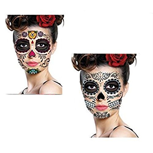 Chenkaiyang 3 Day of the Dead Dia de los Muertos Face SUGAR SKULL NEW TATTOO Masquerade Party(H01)