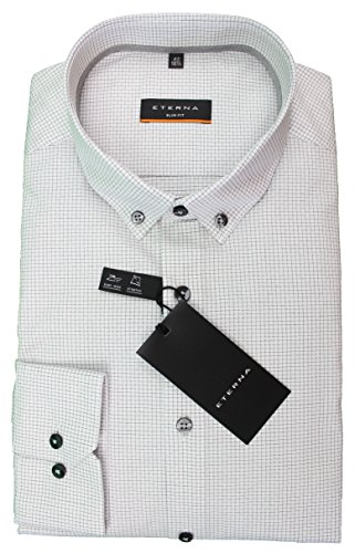 Eterna Herren Hemd Slim Fit Grau Gemustert Button Down
