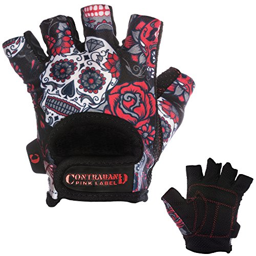 Contraband Pink Label 5237 Womens Design Series Sugar Skull Lifting Gloves (PAIR) (Red, Medium)