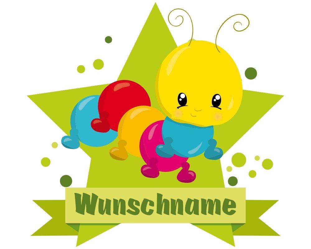 plot4u Baby Raupe Aufkleber mit Namen Autoaufkleber Namensaufkleber Kinder in 7 Größen (10x8,8cm Mehrfarbig)