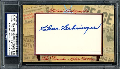 Charlie Gehringer Autographed Signed Memorabilia 2013 Historic Autographs Card #29 Detroit Tigers #7/25 - PSA/DNA - Mlb Hand Detroit Signed Tigers
