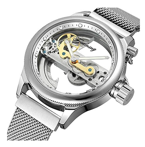 (Unique Mens Automatic Watch Transparent Watch Hollow Skeleton Gold Silver Dial Tone Mesh Band Watch (Silver White))