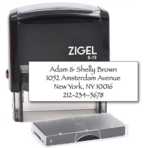ZIGEL Customized Return Address Stamp Self Inking Rubber Stamp with Extra Replacement Ink Pad - 4 Lines ()