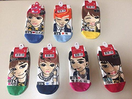 BTS Kpop Socks 7 Pairs (Jungkuk, J-Hope, Suga, V, Jin, Jimin, - Import It  All