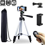 """Paladinz Phone Tripod 42"""" inch Aluminum Lightweight Tripod for iPhone Cell Phone Tripod with Universal Smartphone Mount Gopro Mount with Bluetooth Remote Control and Carrying Bag Vlog Silver"""