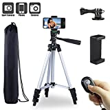 Paladinz Phone Tripod 42'' inch Aluminum Lightweight Tripod for iPhone Cell Phone Tripod with Universal Smartphone Mount Gopro Mount with Bluetooth Remote Control and Carrying Bag Vlog Silver