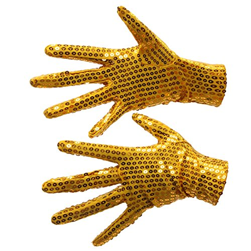 (Silver Sequin Dance Gloves; Party Halloween- One pair, Two gloves (Adults, Gold Sequin)