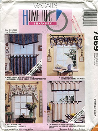 McCall's Home Decorating Pattern 7869 Window Treatments