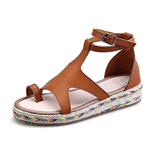 bangfox Women's Platform Toe Post Gladiator Wedge Ankle T-strap Thongs Casual Sandals brown soft pu42 M EU / 10 B(M) US find (Queensbury Collection)