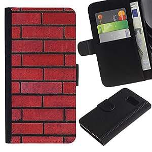 UberTech / Samsung Galaxy S6 SM-G920 / Brick Wall Red Rebel Pattern Law Floyd / Cuero PU Delgado caso Billetera cubierta Shell Armor Funda Case Cover Wallet Credit Card