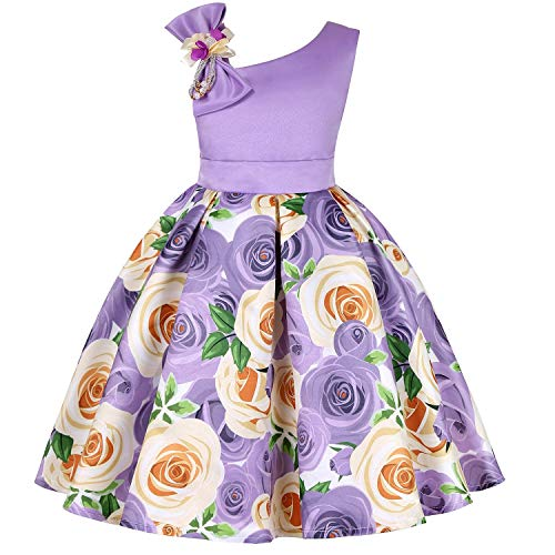One Shoulder Printed Dress for Girls Princess Flower Wedding Pageant Party Dresses,Purple,4T ()