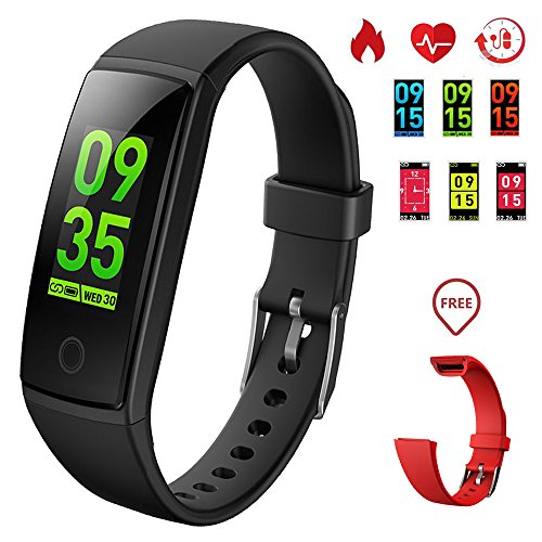 K-berho Fitness Tracker HR, New Version Colorful Screen Smart Bracelet with Heart Rate Monitor,Activity Tracker and Workout Tracker Calorie Counter Pedometer Watch for IOS & Android (black+red) Exercise Heart