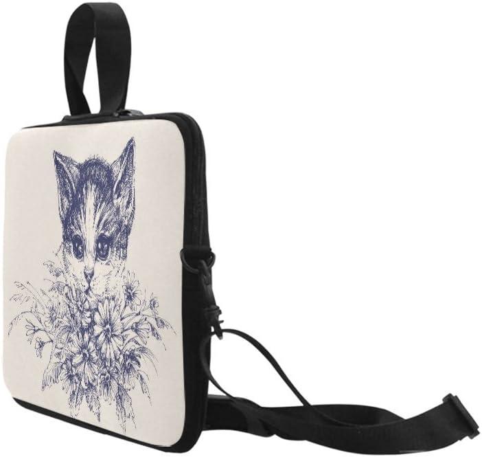Laptop Sleeve Case 15 15.2 Inch Cute Cat Portrait Flower Sleeve Notebook Computer Pocket Bag Beige