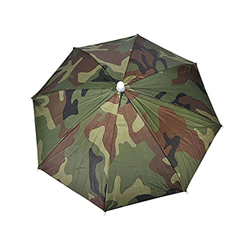 potato001 Adjustable Headband Sun Rain Outdoor Sport Foldable Fishing Umbrella Hat Cap (Army Green) ()