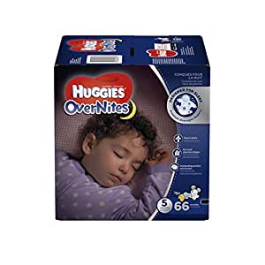 Huggies OverNites Diapers, Size 5 for over 27 lbs., Pack of 66 Overnight Baby Diapers