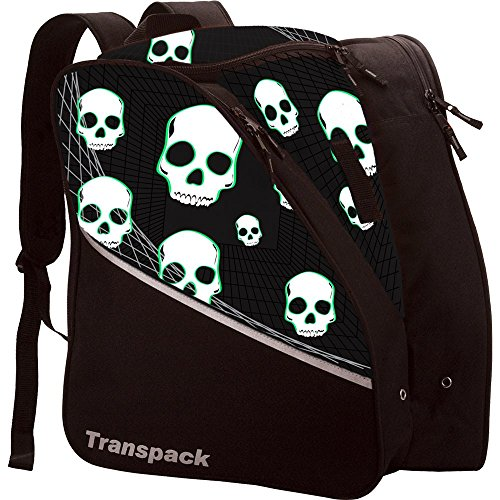 Black Kids Ski Boots - Transpack Edge Junior Kids Ski/Snowboard Boot Bag - Black/Green Skull