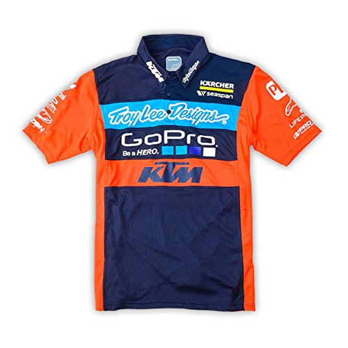 [Troy Lee Designs Mens KTM Team Licensed Pit Polo Shirt X-Large Navy] (Troy Lee Designs Pit Shirt)