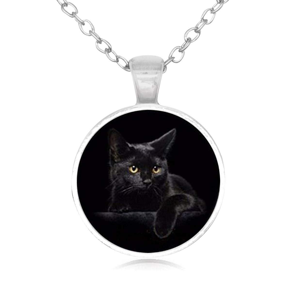 Family Decor Black Lovely Cat Pendant Necklace Cabochon Glass Vintage Bronze Chain Necklace Jewelry Handmade