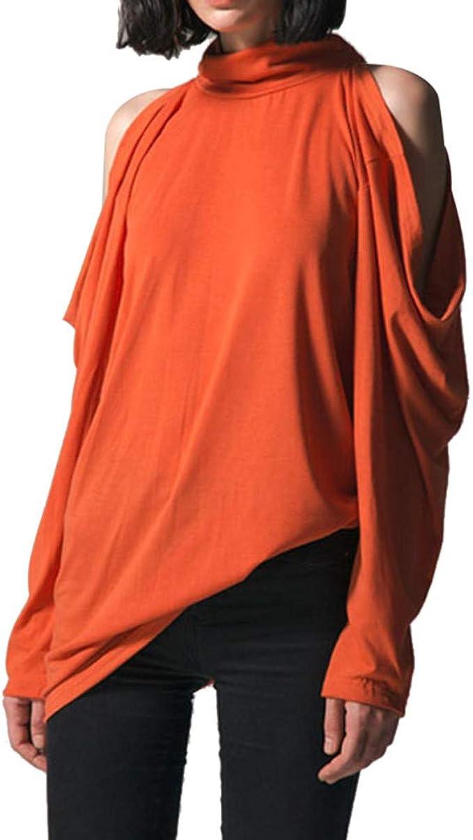 Moda Mujer Camisa de Cuello de Tortuga sólida Suelta Fuera del Hombro Top Casual Solid Sweater Pullover Sexy Camiseta Larga Halter Explosivo Top Camisa imprimado: Amazon.es: Ropa y accesorios