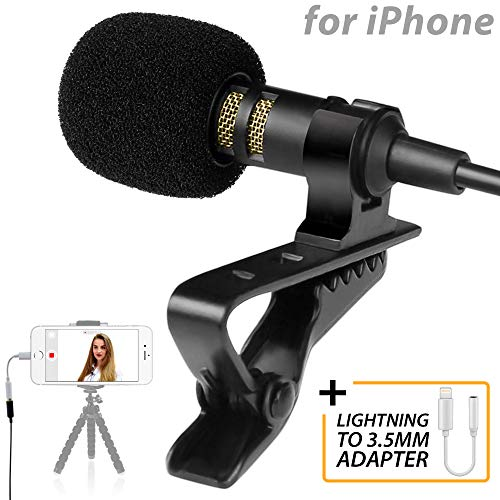 PowerDeWise Lavalier Microphone for iPhone with Lightning Adapter