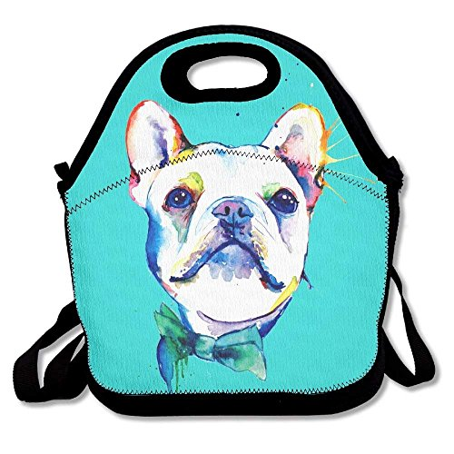 (field tree Watercolor French Bulldogs Mint Green Lunch Bags Insulated Travel Picnic Lunch Box Tote Handbag With Shoulder Strap For Women Teens Girls Kids Adults)