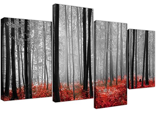 Black White Red Grey Forest Woodland Trees Canvas - Split 4 Piece - 51 Inches Wide - 4236 - Wallfillers