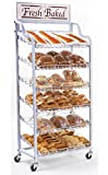 FixtureDisplays 30.5'' x 64.0'' x 18.8'', 30''w Bakery Display Rack w/ Wheels, 6 Shelves & Header - White 19408 19408