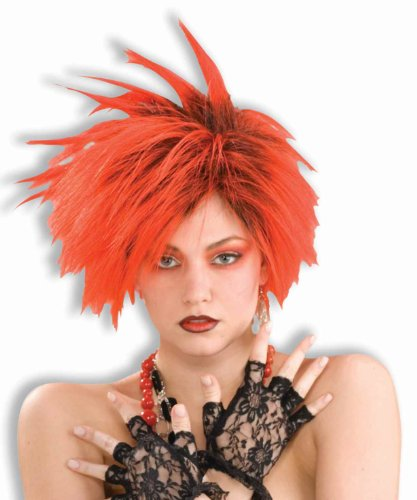 Forum Novelties Women's 80's To The Maxx Red Punk Costume Wig, Black/Red, One Size