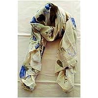Elena Milani Couture- Poppies handmade silkscreen white cotton scarf