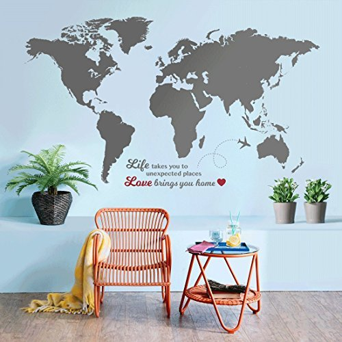 Timber Artbox Huge World Map Wall Decal with Quotes - Best for Adventurers and Travellers - Bright White Interior Paint