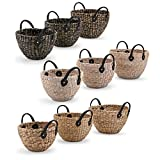 Hyacinth Storage Baskets with Leather Handles - Set of 3, 3 Assorted
