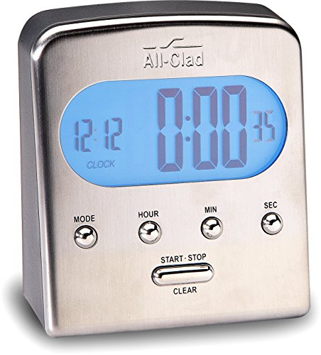 All-Clad T225 Stainless Steel Digital Timer and Clock with Blue LCD, Silver