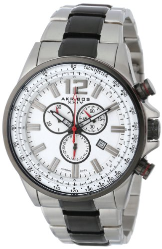 Akribos XXIV Men's 'Conqueror' Swiss Quartz Stainless Steel Casual Watch, Color:Two Tone (Model: AK619SSB)