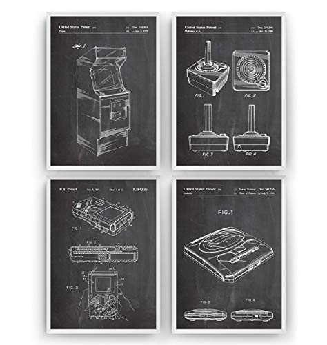 Gamer Patent Prints Art - Set Of 4 - Gaming Poster Gift Vintage Blueprint Retro Girls Boys Video Games Room Wall Bedroom Original Decor Merchandise Classic Old - Frame Not Included