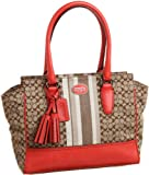 Coach Legacy Signature Stripe Candace Carryall Handbag Purse 19915 Khaki Carnelian, Bags Central