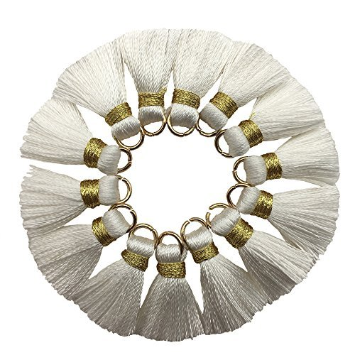 CHENGRUI 2CM Mini Tassels For Jewelry Making,Diy,Jewelry Accessories,Pack of 10 Pcs(Gold and White)